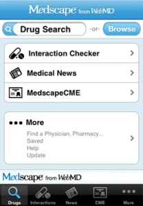 Screenshot of the Medscape app