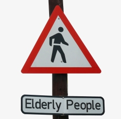 Warenign sign. Elderly people crossing.